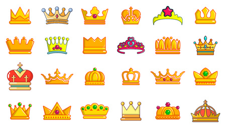 Crown icon set, cartoon style