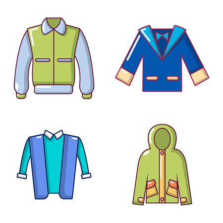 Jacket icon set, cartoon style