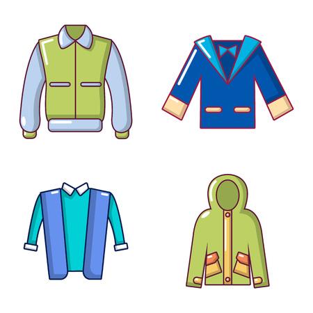 Jacket icon set, cartoon style