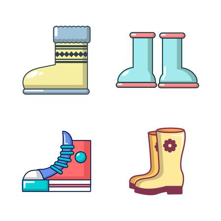 Boots icon set, cartoon style
