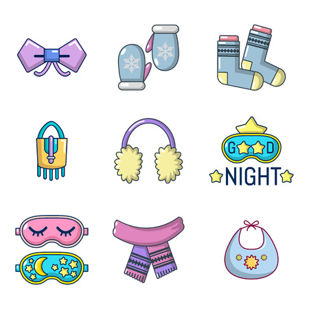 Clothes accesories icon set, cartoon style