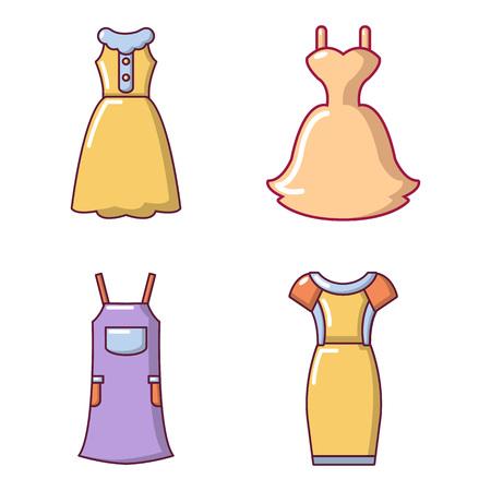 Dress icon set, cartoon style