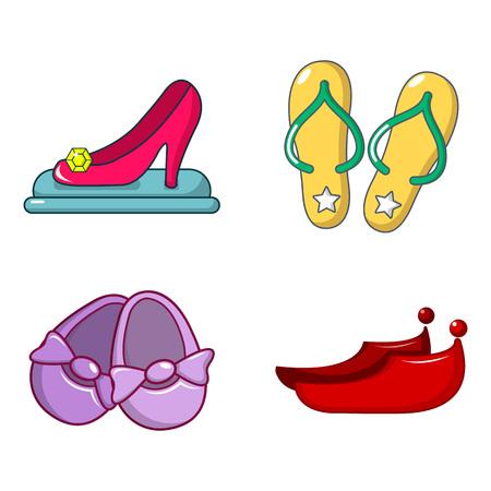 Shoes icon set, cartoon style