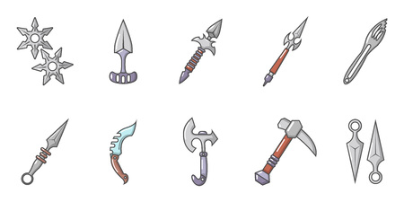 Steel arms icon set, cartoon style Vectores