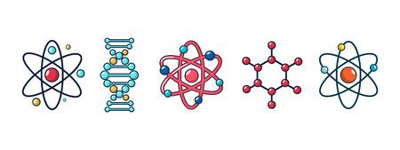 Conjunto de iconos de molécula y átomo, estilo de dibujos animados