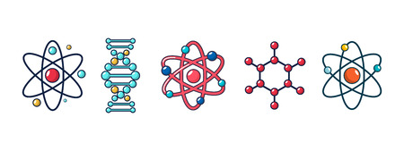 Molecule and atom icon set, cartoon style Illustration