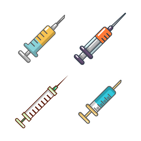 Syringe icon set, cartoon style