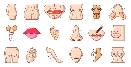 Human body icon set, cartoon style