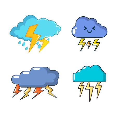 Storm cloud icon set, cartoon style