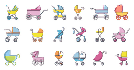 Baby carriage icon set, cartoon style Illustration