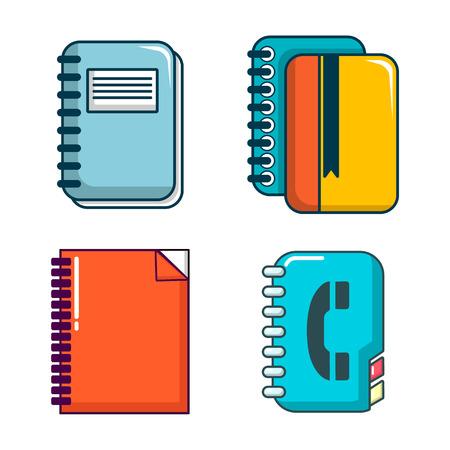 Notebook icon set, cartoon style