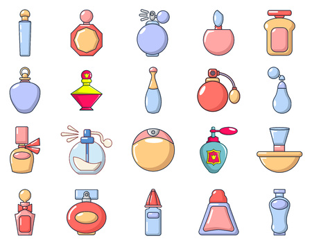 Perfume icon set in cartoon style on a white background