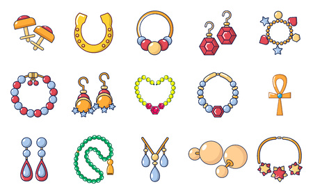 Jewelry icon set in cartoon style on a white background Illustration