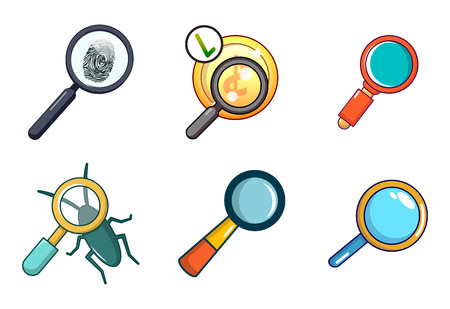 Magnified glass icon set in cartoon style on a white background Çizim