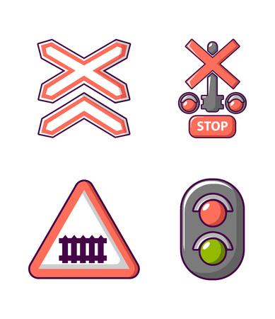 Road sign icon set, cartoon style Illustration