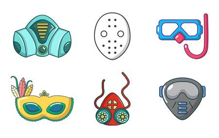 Mask icon set, cartoon style