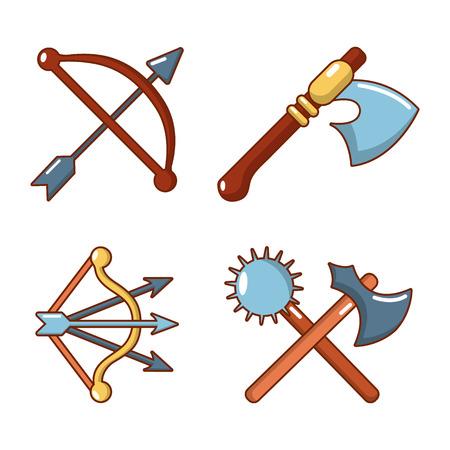 Medieval armor icon set, cartoon style