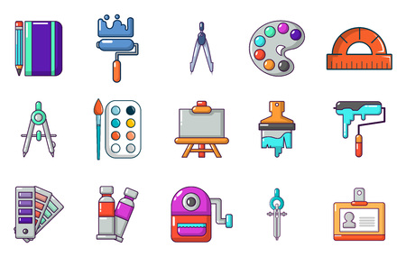 Paint tools icon set, cartoon style