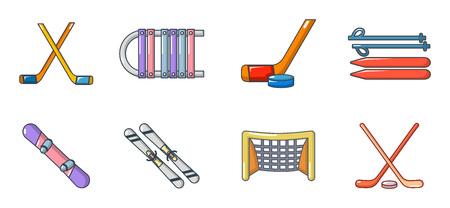 Winter sport equipment icon set, cartoon style Illustration