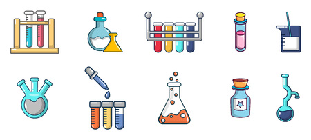 Chemical pots icon set, cartoon style