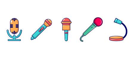 Microphone icon set, cartoon style