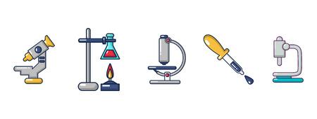 Chemical tools icon set, cartoon style Illustration