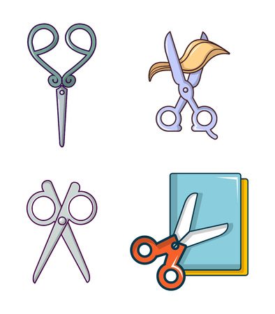 Scissors icon set, cartoon style