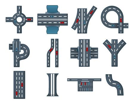 City road icon set, cartoon style