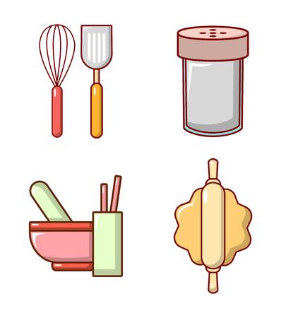 Kitchen tool icon set, cartoon style Illustration