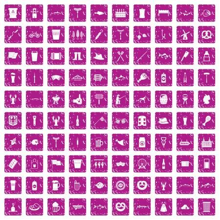 100 beer icons set grunge pink