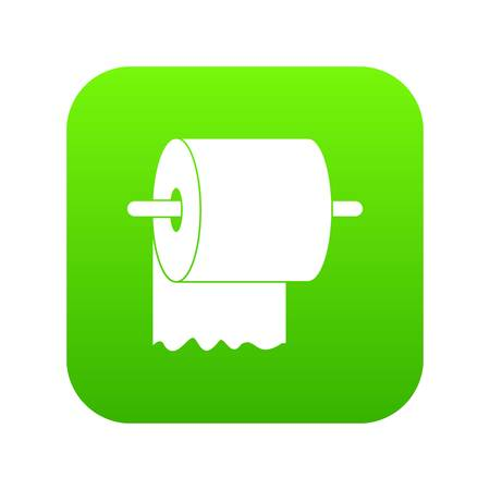 Roll of toilet paper on holder icon digital green