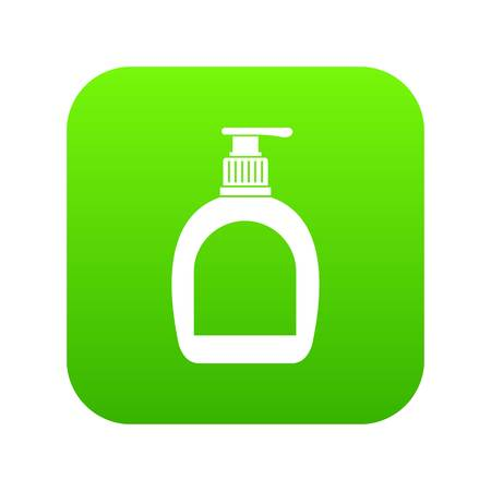 Bottle with liquid soap icon digital green