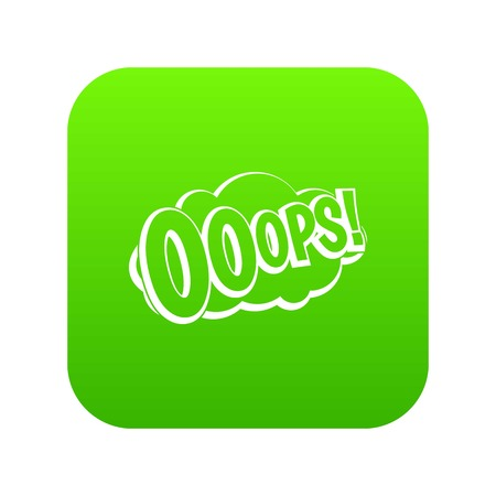 OOOPS, comic book explosion icon digital green