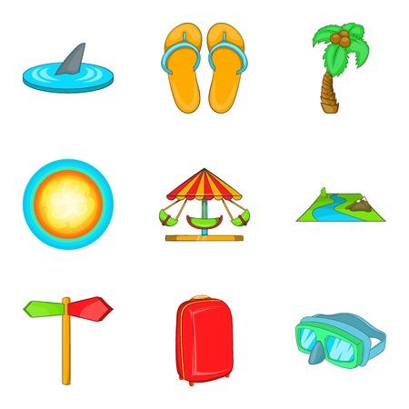 Recreational activity icons set, cartoon style Illustration