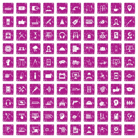 100 support icons set grunge pink