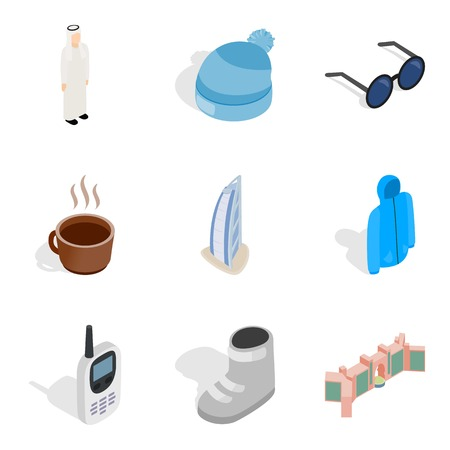 Omission icons set, isometric style