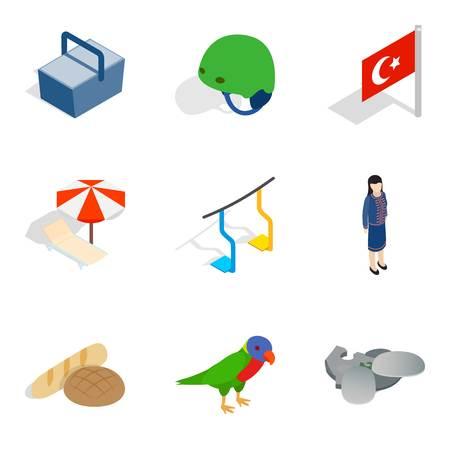Furlough icons set, isometric style Illustration