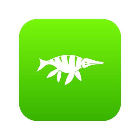 Aquatic dinosaur icon digital green