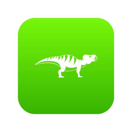 Hadrosaurid dinosaur icon digital green Illustration