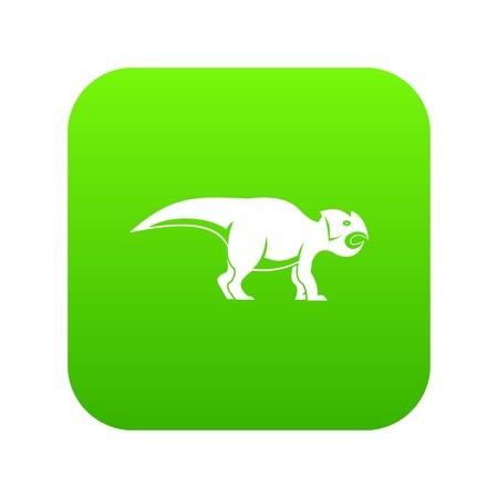 Ceratopsians dinosaur icon digital green