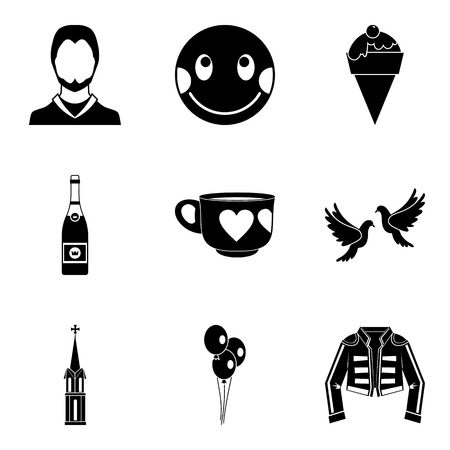 Hotly favourite icons set, simple style Çizim