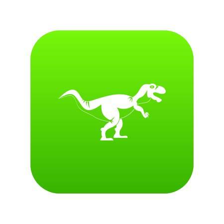 Tyrannosaur dinosaur icon digital green Stock Vector - 97641817