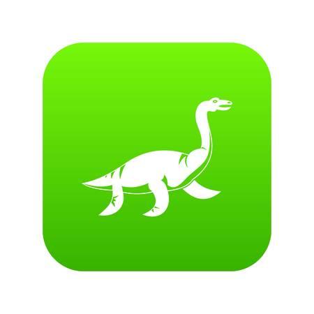 Elasmosaurine dinosaur icon digital green
