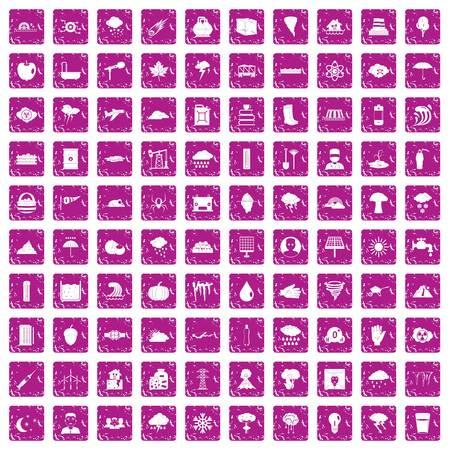 100 thunderstorm icons set grunge pink  イラスト・ベクター素材