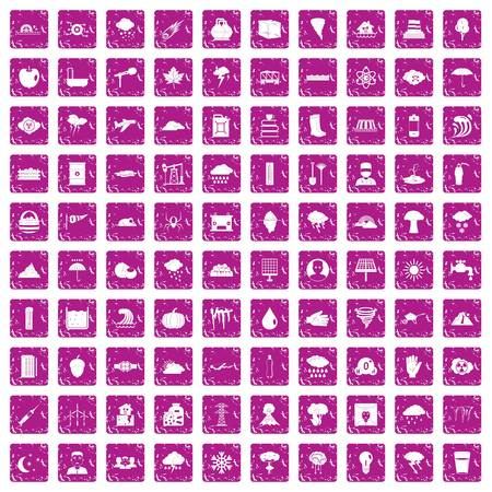100 thunderstorm icons set grunge pink Stock Illustratie