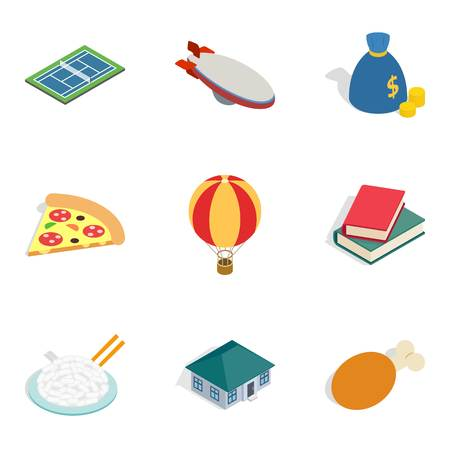 Money icons set like pizza slice, house ,and books in  isometric style