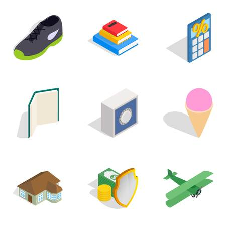 Enterprise icons set like shoes, plane and ice cream in isometric style
