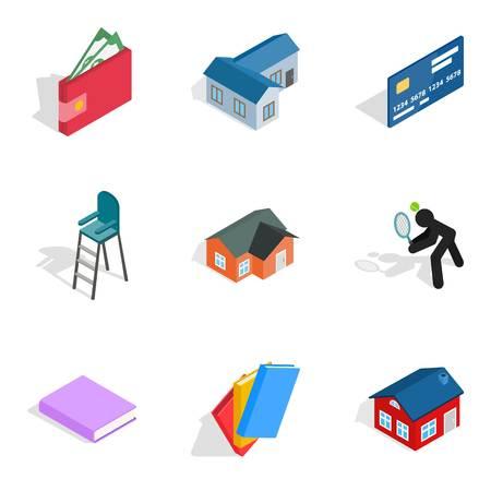 Economy icons set on colored illustration Illustration