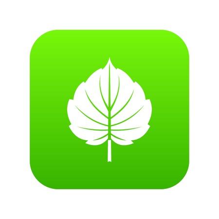 Icono de hoja de aliso en fondo verde digital