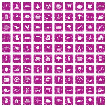 100 tree icons set pink background